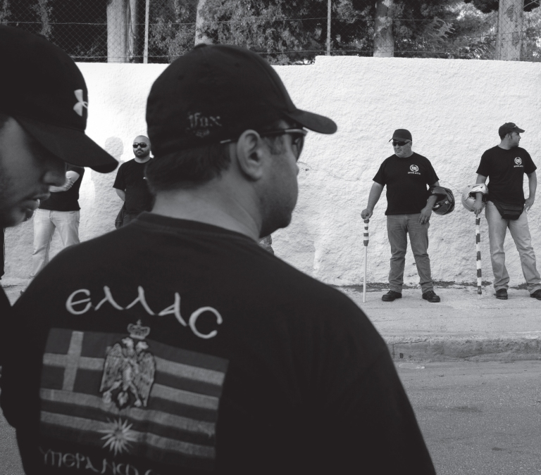 Golden Dawn storm troopers in the city of Corinth
